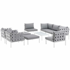 Modway Harmony 10 Piece Outdoor Patio Aluminum Sectional Sofa Set in White Gray MY-EEI-2616-WHI-GRY-SET
