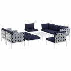 Modway Harmony 10 Piece Outdoor Patio Aluminum Sectional Sofa Set in White Navy MY-EEI-2616-WHI-NAV-SET