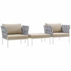 Modway Harmony 3 Piece Outdoor Patio Aluminum Sectional Sofa Set in White Beige MY-EEI-2618-WHI-BEI-SET