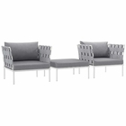Modway Harmony 3 Piece Outdoor Patio Aluminum Sectional Sofa Set in White Gray MY-EEI-2618-WHI-GRY-SET