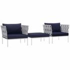 Modway Harmony 3 Piece Outdoor Patio Aluminum Sectional Sofa Set in White Navy MY-EEI-2618-WHI-NAV-SET