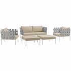 Modway Harmony 5 Piece Outdoor Patio Aluminum Sectional Sofa Set in White Beige MY-EEI-2621-WHI-BEI-SET