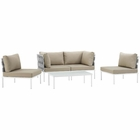 Modway Harmony 5 Piece Outdoor Patio Aluminum Sectional Sofa Set in White Beige MY-EEI-2622-WHI-BEI-SET