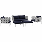 Modway Harmony 5 Piece Outdoor Patio Aluminum Sectional Sofa Set in White Navy MY-EEI-2621-WHI-NAV-SET