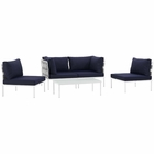 Modway Harmony 5 Piece Outdoor Patio Aluminum Sectional Sofa Set in White Navy MY-EEI-2622-WHI-NAV-SET
