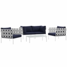 Modway Harmony 5  Piece Outdoor Patio Aluminum Sectional Sofa Set in White Navy MY-EEI-2623-WHI-NAV-SET
