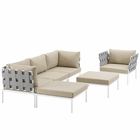 Modway Harmony 6 Piece Outdoor Patio Aluminum Sectional Sofa Set in White Beige MY-EEI-2626-WHI-BEI-SET