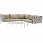 Modway Harmony 6 Piece Outdoor Patio Aluminum Sectional Sofa Set in White Beige MY-EEI-2627-WHI-BEI-SET