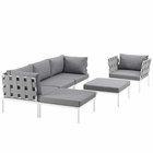 Modway Harmony 6 Piece Outdoor Patio Aluminum Sectional Sofa Set in White Gray MY-EEI-2626-WHI-GRY-SET