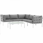 Modway Harmony 6 Piece Outdoor Patio Aluminum Sectional Sofa Set in White Gray MY-EEI-2627-WHI-GRY-SET