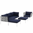 Modway Harmony 6 Piece Outdoor Patio Aluminum Sectional Sofa Set in White Navy MY-EEI-2626-WHI-NAV-SET