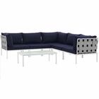 Modway Harmony 6 Piece Outdoor Patio Aluminum Sectional Sofa Set in White Navy MY-EEI-2627-WHI-NAV-SET