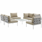 Modway Harmony 7 Piece Outdoor Patio Aluminum Sectional Sofa Set in White Beige MY-EEI-2617-WHI-BEI-SET