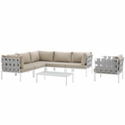Modway Harmony 7 Piece Outdoor Patio Aluminum Sectional Sofa Set in White Beige MY-EEI-2620-WHI-BEI-SET
