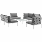 Modway Harmony 7 Piece Outdoor Patio Aluminum Sectional Sofa Set in White Gray MY-EEI-2617-WHI-GRY-SET