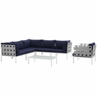Modway Harmony 7 Piece Outdoor Patio Aluminum Sectional Sofa Set in White Navy MY-EEI-2620-WHI-NAV-SET