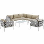 Modway Harmony 8 Piece Outdoor Patio Aluminum Sectional Sofa Set in White Beige MY-EEI-2619-WHI-BEI-SET