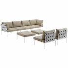 Modway Harmony 8 Piece Outdoor Patio Aluminum Sectional Sofa Set in White Beige MY-EEI-2624-WHI-BEI-SET
