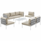 Modway Harmony 8 Piece Outdoor Patio Aluminum Sectional Sofa Set in White Beige MY-EEI-2625-WHI-BEI-SET