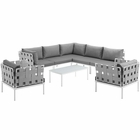 Modway Harmony 8 Piece Outdoor Patio Aluminum Sectional Sofa Set in White Gray MY-EEI-2619-WHI-GRY-SET