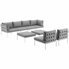 Modway Harmony 8 Piece Outdoor Patio Aluminum Sectional Sofa Set in White Gray MY-EEI-2624-WHI-GRY-SET