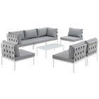 Modway Harmony 8 Piece Outdoor Patio Aluminum Sectional Sofa Set in White Gray MY-EEI-2625-WHI-GRY-SET