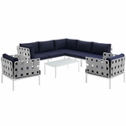Modway Harmony 8 Piece Outdoor Patio Aluminum Sectional Sofa Set in White Navy MY-EEI-2619-WHI-NAV-SET