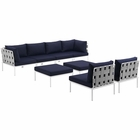 Modway Harmony 8 Piece Outdoor Patio Aluminum Sectional Sofa Set in White Navy MY-EEI-2624-WHI-NAV-SET