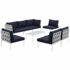 Modway Harmony 8 Piece Outdoor Patio Aluminum Sectional Sofa Set in White Navy MY-EEI-2625-WHI-NAV-SET