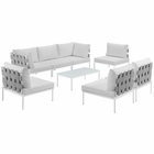Modway Harmony 8 Piece Outdoor Patio Aluminum Sectional Sofa Set in White White MY-EEI-2625-WHI-WHI-SET