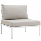 Modway Harmony Armless Outdoor Patio Aluminum Chair in White Beige MY-EEI-2600-WHI-BEI