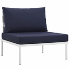 Modway Harmony Armless Outdoor Patio Aluminum Chair in White Navy MY-EEI-2600-WHI-NAV