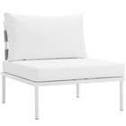 Modway Harmony Armless Outdoor Patio Aluminum Chair in White White MY-EEI-2600-WHI-WHI