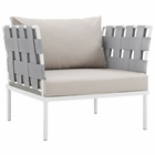 Modway Harmony Outdoor Patio Aluminum Armchair in White Beige MY-EEI-2602-WHI-BEI