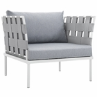 Modway Harmony Outdoor Patio Aluminum Armchair in White Gray MY-EEI-2602-WHI-GRY