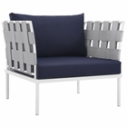 Modway Harmony Outdoor Patio Aluminum Armchair in White Navy MY-EEI-2602-WHI-NAV