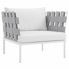 Modway Harmony Outdoor Patio Aluminum Armchair in White White MY-EEI-2602-WHI-WHI