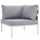 Modway Harmony Outdoor Patio Aluminum Corner Sofa in White Gray MY-EEI-2601-WHI-GRY