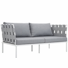 Modway Harmony Outdoor Patio Aluminum Loveseat in White Gray MY-EEI-2603-WHI-GRY