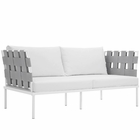 Modway Harmony Outdoor Patio Aluminum Loveseat in White White MY-EEI-2603-WHI-WHI