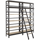 Modway Headway Pine Wood and Iron Bookshelf in Brown MY-EEI-1215-BRN-SET