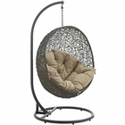 Modway Hide Outdoor Patio Wicker Rattan Swing Chair With Stand in Gray Mocha MY-EEI-2273-GRY-MOC