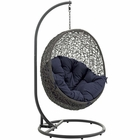 Modway Hide Outdoor Patio Wicker Rattan Swing Chair With Stand in Gray Navy MY-EEI-2273-GRY-NAV