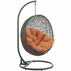 Modway Hide Outdoor Patio Wicker Rattan Swing Chair With Stand in Gray Orange MY-EEI-2273-GRY-ORA