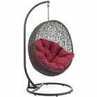 Modway Hide Outdoor Patio Wicker Rattan Swing Chair With Stand in Gray Red MY-EEI-2273-GRY-RED
