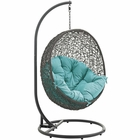 Modway Hide Outdoor Patio Wicker Rattan Swing Chair With Stand in Gray Turquoise MY-EEI-2273-GRY-TRQ