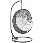 Modway Hide Outdoor Patio Wicker Rattan Swing Chair With Stand in Gray White MY-EEI-2273-GRY-WHI
