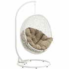 Modway Hide Outdoor Patio Wicker Rattan Swing Chair With Stand in White Mocha MY-EEI-2273-WHI-MOC