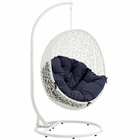 Modway Hide Outdoor Patio Wicker Rattan Swing Chair With Stand in White Navy MY-EEI-2273-WHI-NAV
