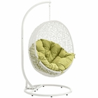 Modway Hide Outdoor Patio Wicker Rattan Swing Chair With Stand in White Peridot MY-EEI-2273-WHI-PER